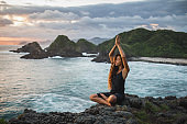 Yoga with amazing mountain and ocean view