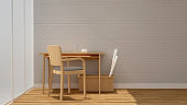 workplace or dining room in home or apartment and white brick wall decoration - Interior design minimal style - 3D Rendering