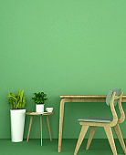 Living area or workplace on green wall decoration.  Coffee shop on green tone design. 3D Rendering