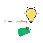crowdfunding icon with outline bulb