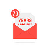 70 years anniversary icon in simple open letter