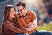 Couple in love spending time together outdoors