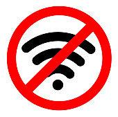 no wifi sign symbol on white background