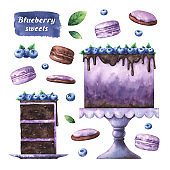 Watercolor collection of blueberry sweets