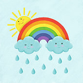 Illustration of the rainbow, clouds, raindrops and the sun