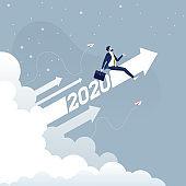 Businessman riding 2020 arrow going up-Business concept