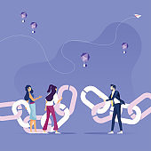 Business people merge the chain-Link concept vector