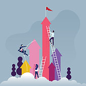 Business competition concept-Group of competitive business people climbing the ladder on a cloud