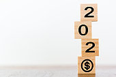 New year 2020 with dollar symbol. Growth success concept
