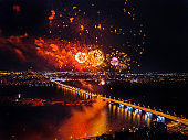 Firework above Voronezh during celebration of Victory Day, aerial view taken by drone