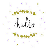 Greeting card with hello lettering and botanical wreath. Vector poster design