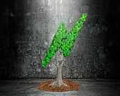 Tree with lightning bolt shape leaves, dirty concrete wall.