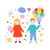Little boy and girl vector illustration. Happy children holding balloons and cotton candy. Cute amusement park concept