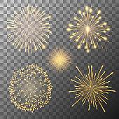Set of five fireworks bursting in various shapes. Firework explosion in night. Firecracker rockets bursting in big sparkling star balls