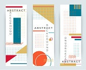 Abstract retro vertical banners with multicolored simple geometric shapes. Triangles, circles, lines