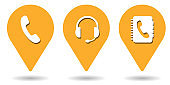 Location pins for telephone, headset and phone book