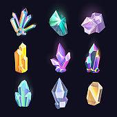 Set of isolated diamonds, crystal, quartz icons