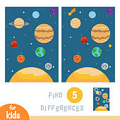 Find differences, education game, Solar system planets