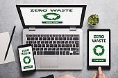 Zero waste concept on laptop, tablet and smartphone screen