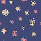 Vector Colorful Star Snowflakes on Navy Blue seamless pattern background.