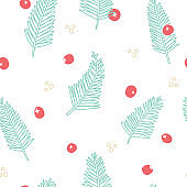 Vector Christmas Tree Foliage with Berries seamless pattern background.