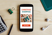 Christmas shopping concept on smartphone screen