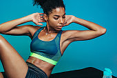 Sports woman doing abs crunch workout