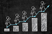 Handwritten white chalk growth graphic on blackboard. Five businessman with briefcase of money climbing step by step on business stairs graph