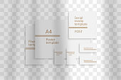 Stationery business branding mockup in realism style with transparent shadow light effect overlay. Mesh grid. Presentation your design card, poster, stories