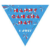 Happy Canada day card. Pattern with National flag red and white color modern typography for celebration design, flyer, banner. on fective firework blue background.