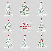 Greeting card Modern sketch set with trendy stylized christmas tree Isolated on background for winter holiday decoration design. Snowy forest Vintage style, flat color
