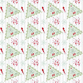Seamless pattern Modern sketch with trendy stylized christmas tree and postage stamp for winter holiday decoration design. Vintage style, flat color Abstract concept graphic background