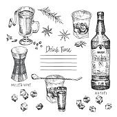 Vintage hand drawn sketch design bar, restaurant, cafe menu on white background. Graphic vector art. Iwhiskey with ice and mulled wine Creative template for flyer, banner, poster, brochure.