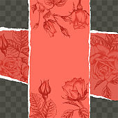Trendy easy editable template for social media post in torn paper style. Roses flower theme Creative design background for individual and corporate web promotion, blogs