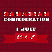 Happy Canada day card. Pattern with red and white color modern typography for celebration design, flyer, banner on checkered background. National flag style