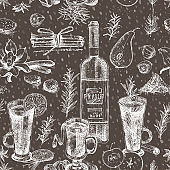 Seamless pattern with hand drawn Christmas winter spices, glasses of traditionally hot winter drinks and wine bottle. Chalk board style art illustration