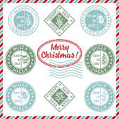 Set of vintage textured grunge christmas stamp rubber with holiday symbols in red, green and blue colors. For xmas greeting card, invitations, web banner, sale flyers retro design