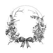 Hand drawn botanical sketch garland with christmas plants Vintage engraving black and white style illustration Traditional holiday decoration.