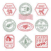 Set of vintage textured grange christmas stamp rubber with holiday symbols in red, green and blue colors. For xmas greeting card, invitations, web banner, sale flyers retro design