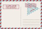 Template of vintage air mail postcard and envelope. Texture grunge christmas stamp rubber with holiday symbols in traditional colors. Place for your greeting text