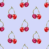 Watercolor seamless pattern from red juicy cherries on blue backdrop. Sketch drawing. Hand drawn food illustration.
