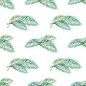 Seamless pattern from tropical leaves. Palm. Watercolor painting. Exotic plant. Natural print. Sketch drawing.