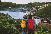 Couple family traveling together on mountain in village countryside on Thailand, at Ban Rak Thai village. Travel relax holiday.