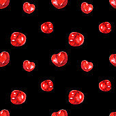 Watercolor seamless pattern from red juicy cherries on black backdrop. Sketch drawing. Hand drawn food illustration.