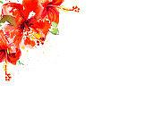 Beautiful red hibiscus flower corner frame. Watercolor painting.