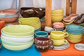 Colorful vintage tableware