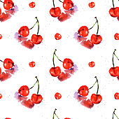 Watercolor seamless pattern from red juicy cherries.  Sketch drawing. Hand drawn food illustration.