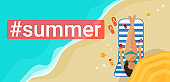 Hashtag summer concept flat vector illustration of woman sunbathing on the beach and relaxing under summer umbrella