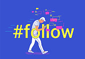 Hashtag follow concept flat vector illustration of young man going and texting messages in mobile messenger app