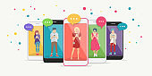 Smart phone addiction concept flat vector illustration of teenagers inside the mobile smartphones with chat speech bubbles